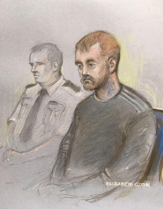 Court artist sketch by Elizabeth Cook of Stephen Nicholson, 25, (right) of no fixed address, in the dock at Winchester Crown Court.
