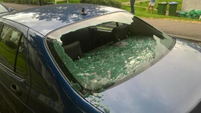 One of the cars targeted in the rampage