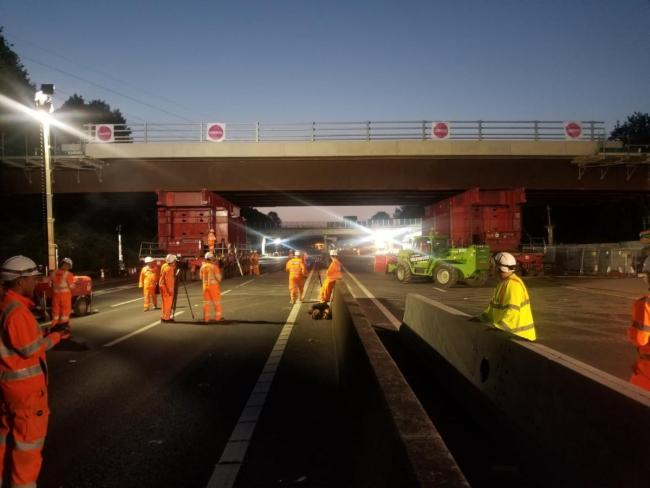 Engineers working on the bridge replacement scheme in June.