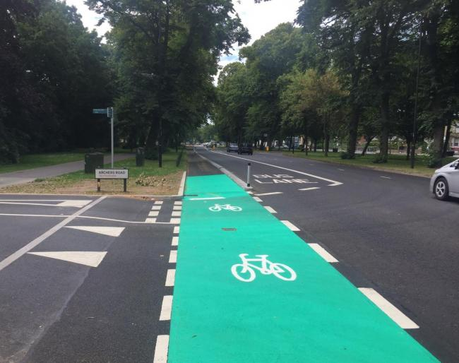 The cycle lane in Archers Road
