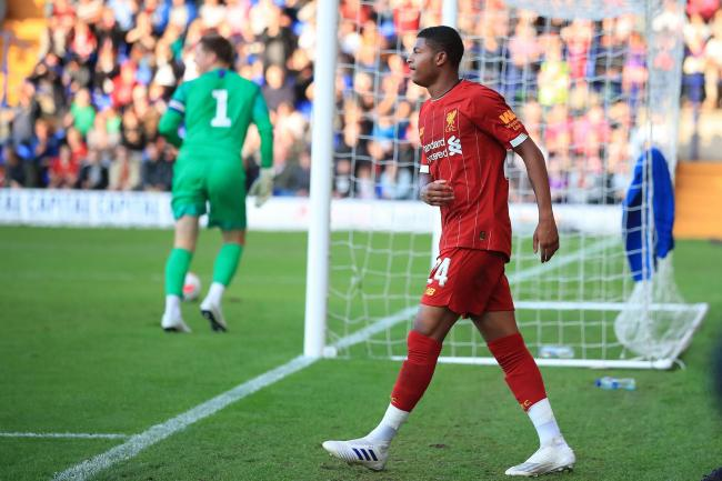 Liverpool's Rhian Brewster celebrates scoring against Tranmere
