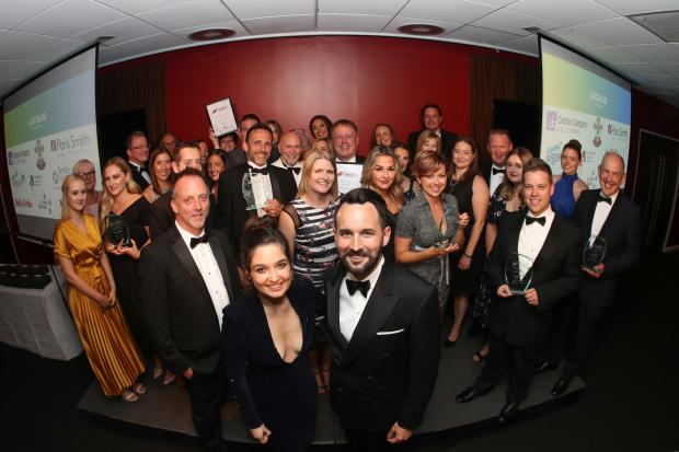 Lauren Bannon and Jez Rose pictured with all the winners of the South Coast Business Awards