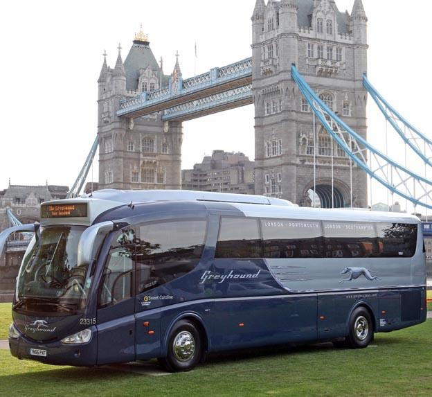A Greyhound coach in London