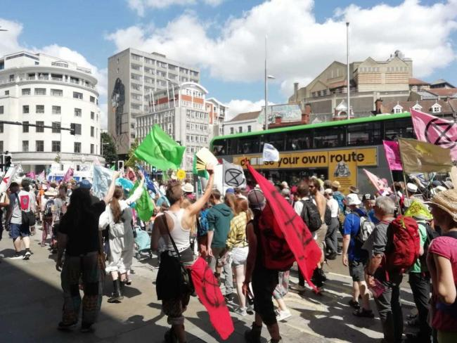 Extinction Rebellion protesters in Bristol. Photo: Adie Robertson