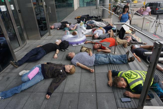 Extinction Rebellion protest outside Carnival UK offices - 2019