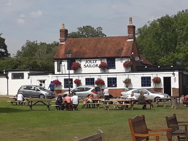 The Jolly Sailor pub at Ashlett Creek, near Fawley.