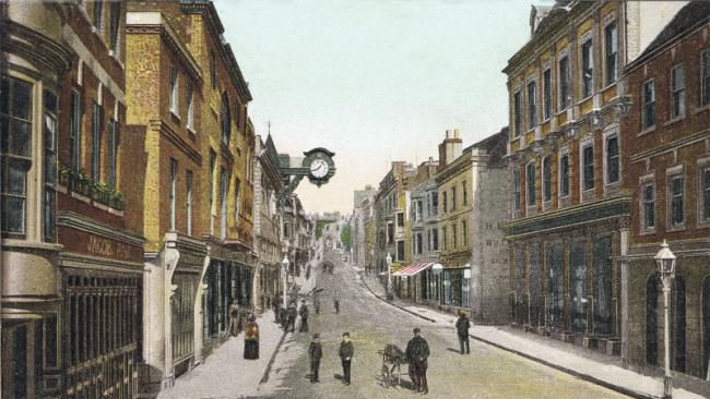 Winchester High Street in the 19th century.