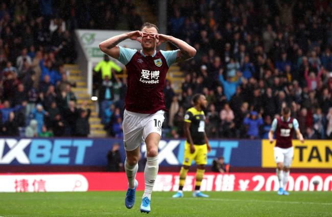 Ashley Barnes celebrates his second goal for Burnley