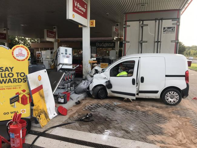 A vehicle has collided with a pump at the Shell Services on the A27 at Emsworth.