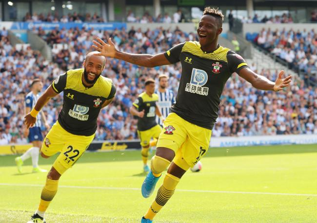 Moussa Djenepo celebrates his goal at Brighton
