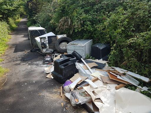 Piles of rubbish were left on Dairy Lane in Nursling.