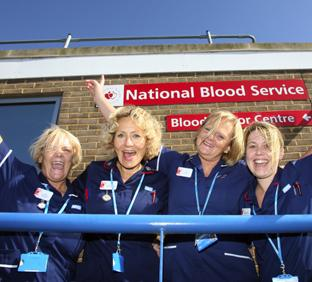 YIPPEE! Staff nurses celebrate reaching the blood donor target, from left, Annette Judge, Gail Coverley, Sue Young and Karen Curzon. Echo picture by Matt Watson. Order no: 9161110