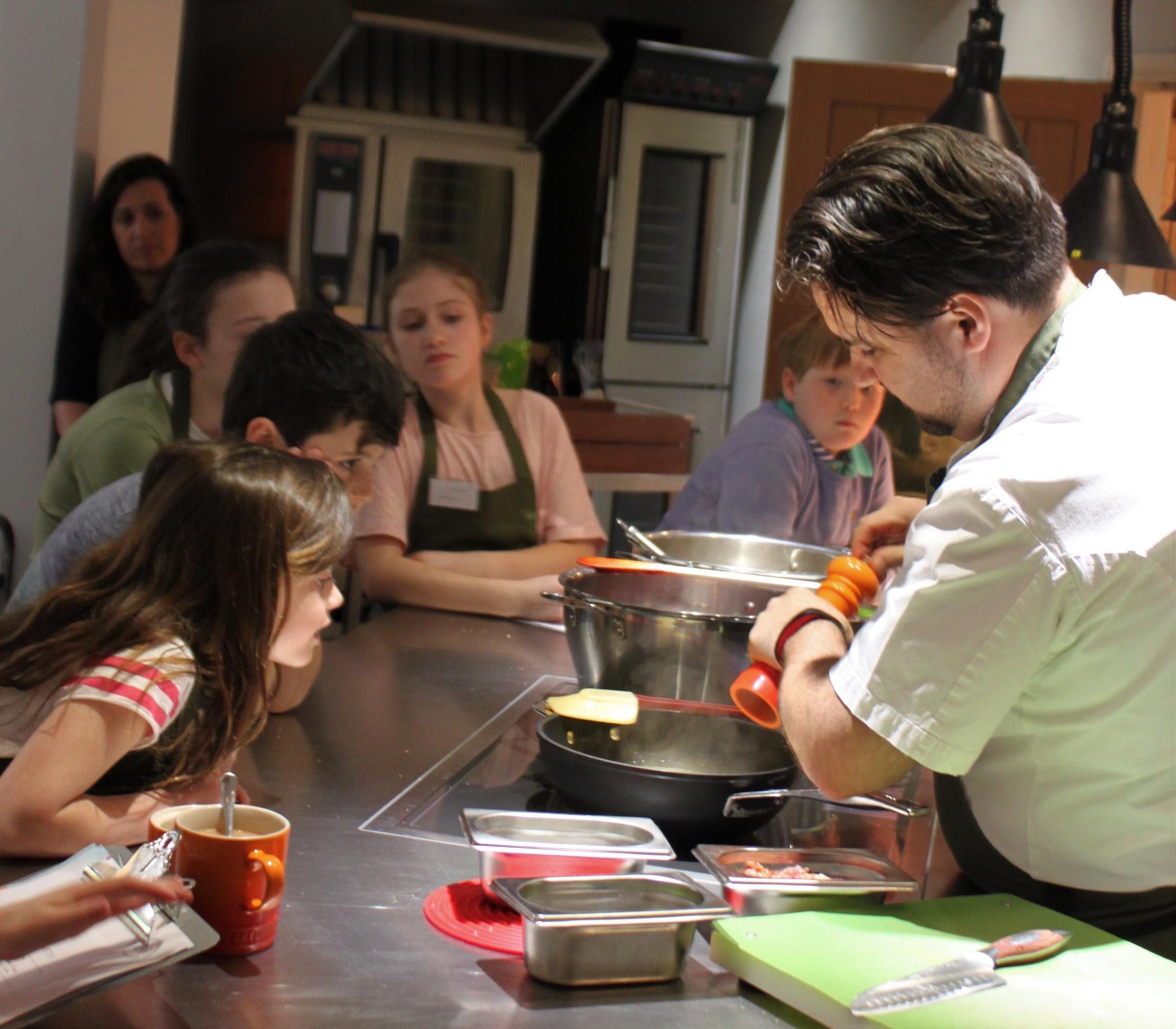 Parent and child cooking at Season Cookery School