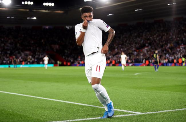 Jadon Sancho celebrates his goal for England at St Mary's