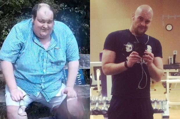 George before his weight loss and after.