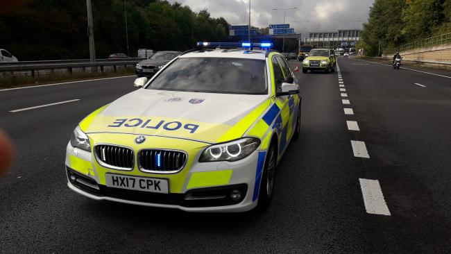 Police at scene of broken down lorry at junction 13 of the M3