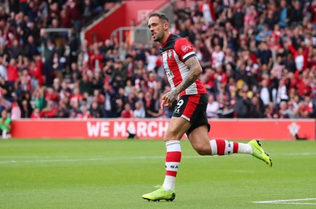 Daily Echo: Danny Ings wheels away after finding the back of the net on Sunday