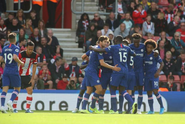 Daily Echo: Chelsea celebrate one of their goals at St Mary's