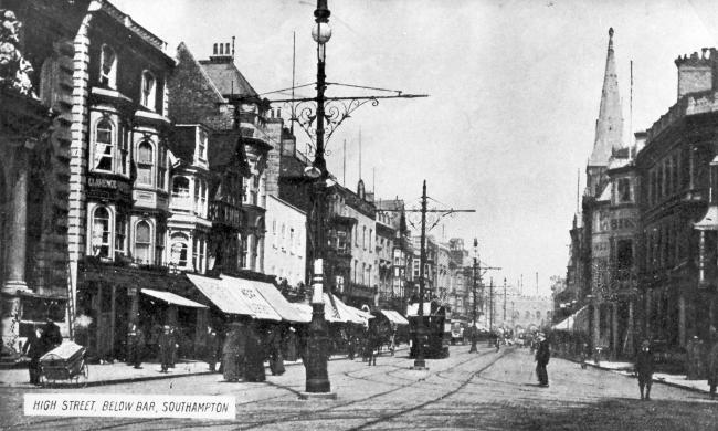Image of Southampton High Street, showing the Dolphin Hotel to the right of the photo and the Bargate in the distance. Dated circa 1900's. Southern Daily Echo Archives..