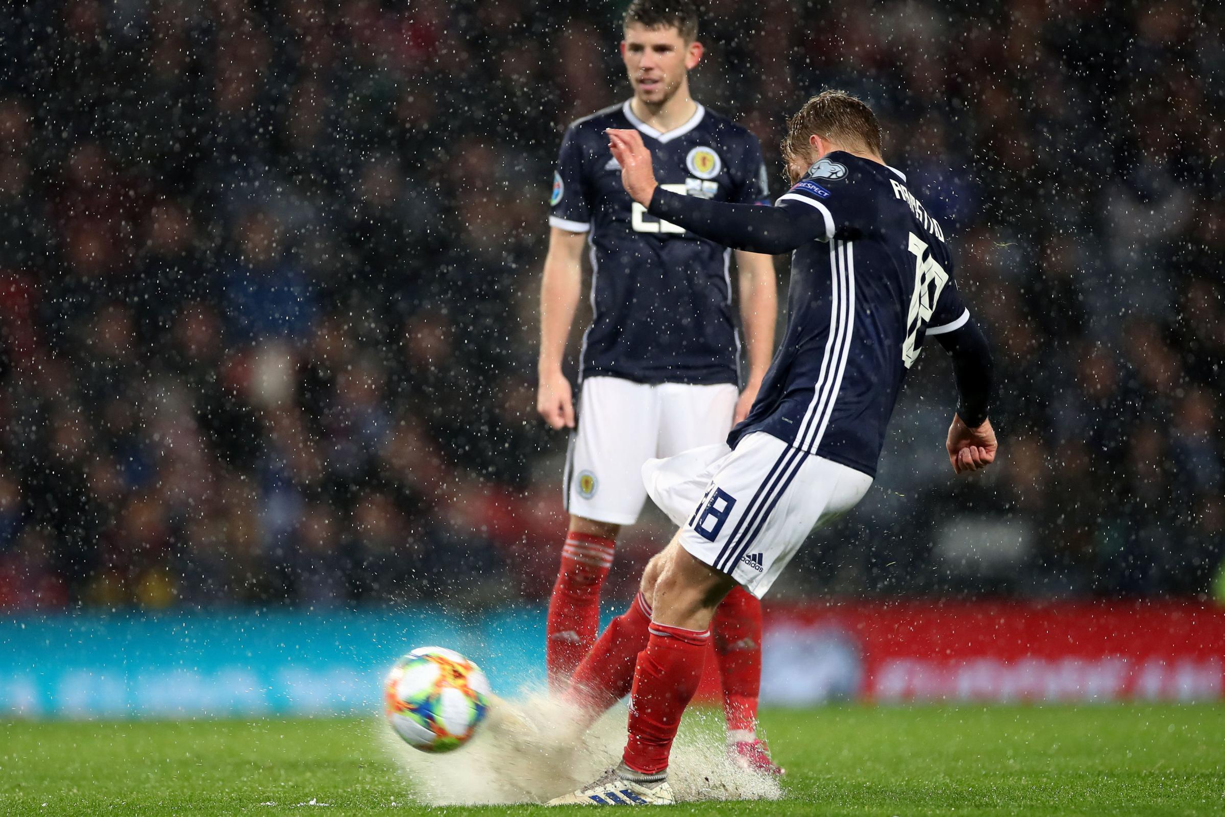 Stuart Armstrong scores for Scotland in Euro 2020 qualifier