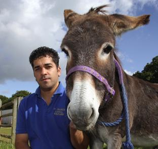 Supervisor Sueltan Day at the St Francis Animal Shelter with a donkey that will die unless £3,000 can be raised for an operation.