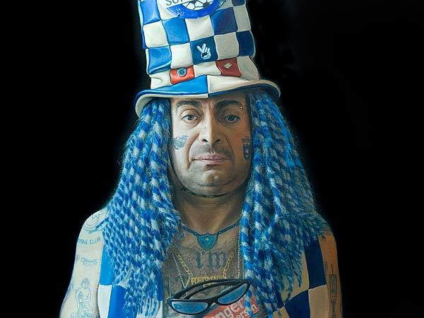 Portrait of Pompey fan on show in Southampton
