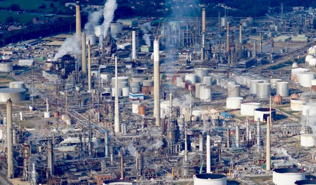 The refinery. Image taken from light aircraft by Stephen Bath