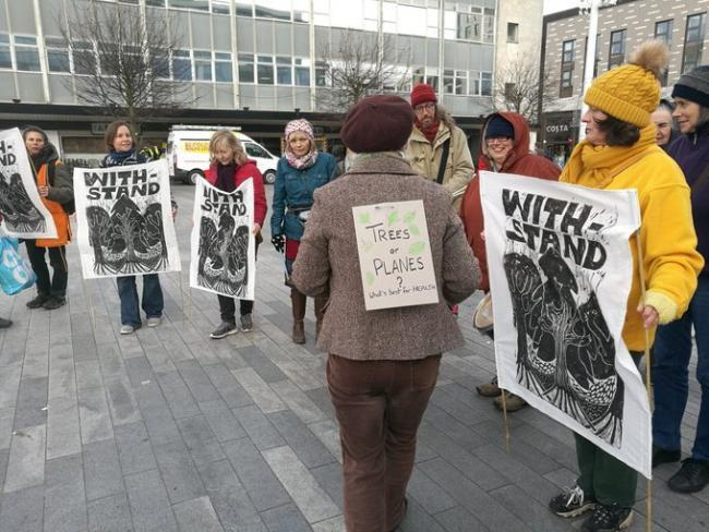 Protesters took to Guildhall Square in Southampton