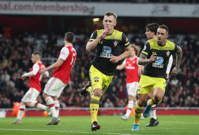 James Ward-Prowse celebrates his goal against Arsenal