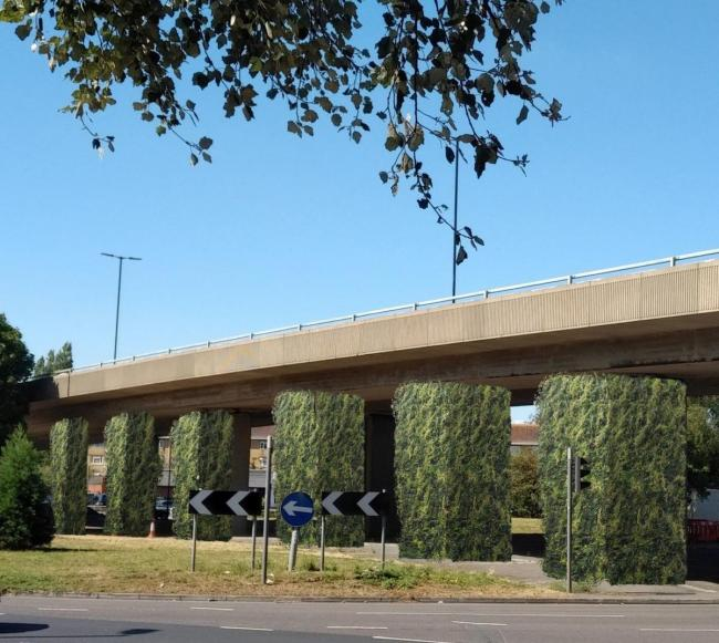An artists impression of the green walls at Millbrook flyover