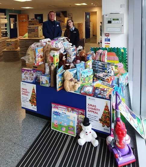 Access Self Storage Southampton Store Manager Stuart Beyer and Customer Services Assistant Alex Kirk with some of the 50 new toys donated so far for underprivileged children cared for by S.C.R.A.T.C.H.