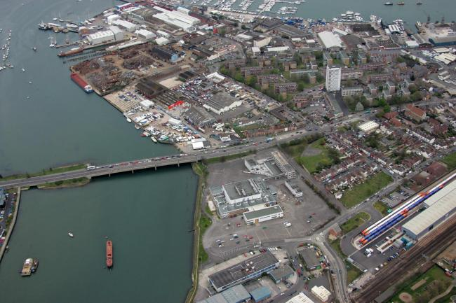 Aerial eye in the sky pics - Southampton - former meridian site - Northam Bridge - Northam.