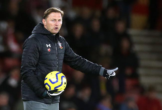 Southampton manager Ralph Hasenhuttl holds the ball on the touchline during the Premier League match at St Mary's Stadium, Southampton..