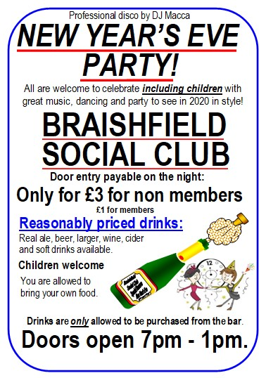 New Year's Eve Party! at Braishfield Social Club