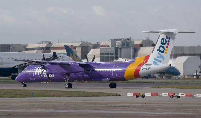 "File photo dated 4/3/2019 of a flybe Bombardier Dash 8 Q400 plane at Heathrow Airport.  Flybe, Europe's largest regional airline, has said it is focused on ""providing a great service and connectivity for our customers"" after reports that it"