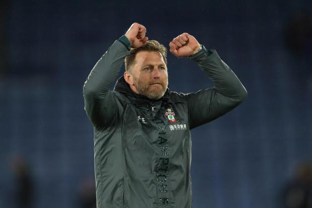 Daily Echo: Ralph Hasenhuttl celebrates the superb triumph at the King Power Stadium