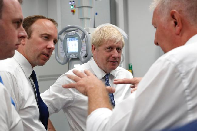 Boris Johnson with Health Secretary Matt Hancock on a visit to the Pilgrim Hospital in Bostonon a visit to Boston