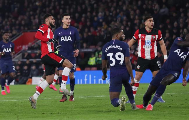 Southampton's Sofiane Boufal scores for Saints during the FA Cup match between  Southampton and Spurs.  Photo by Stuart Martin..