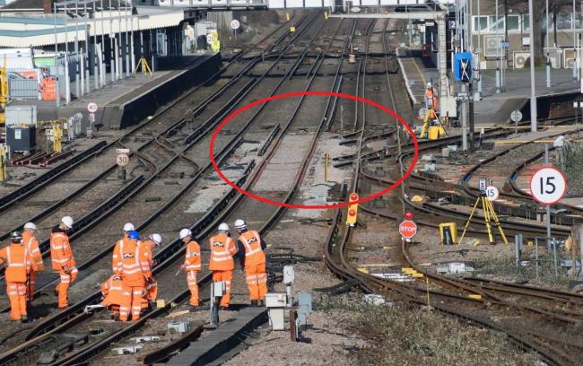 An image of the tracks at Eastleigh Station after the points were removed