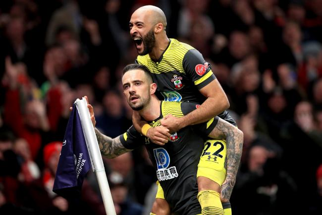 Danny Ings celebrates his goal with Nathan Redmond