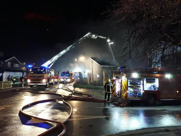 Daily Echo: Fire at disused social club in Victor Street, Shirley, Southampton
