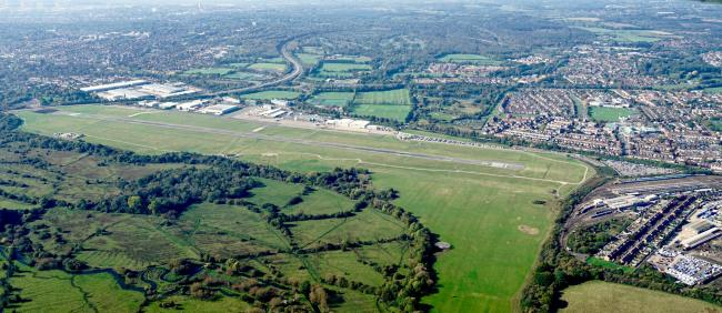 Pictures supplied by Stephen Bath from a light aircraft flight over the Southampton area. .MUST credit - Picture by Stephen Bath. .Southampton Airport runway. ..