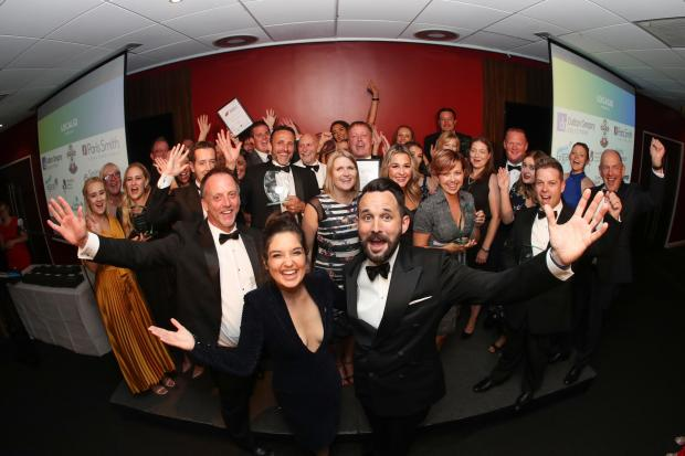 The winners of last year's South Coast Business Awards with host Lauren Bannon and speaker Jez Rose