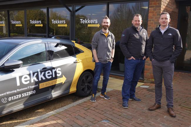 From left, Tekkers IT Solutions founder Pete Matheson, Dynamic Edge chief executive Rob Hamilton, and Stuart Winterburn, managing director of Dynamic Edge