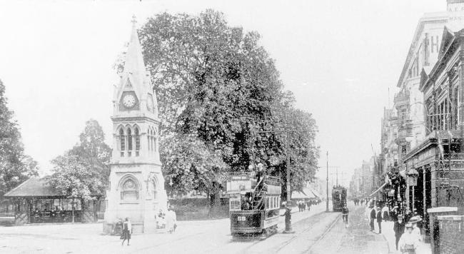 Bitterne Triangle clock tower - early 1900s