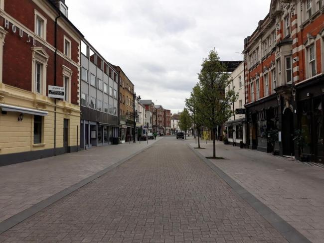 Southampton city centre deserted. Job vacancies fell by more than 16 per cent last month, data suggests