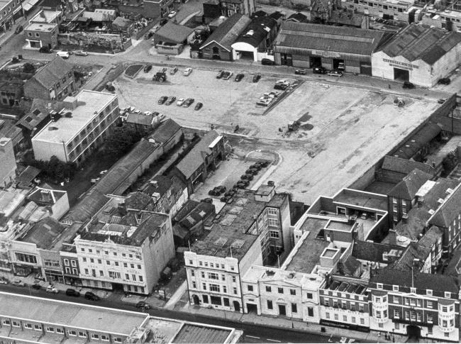 Aerial of space cleared for car park between Southampton High Street and Back of the Walls - 1960.