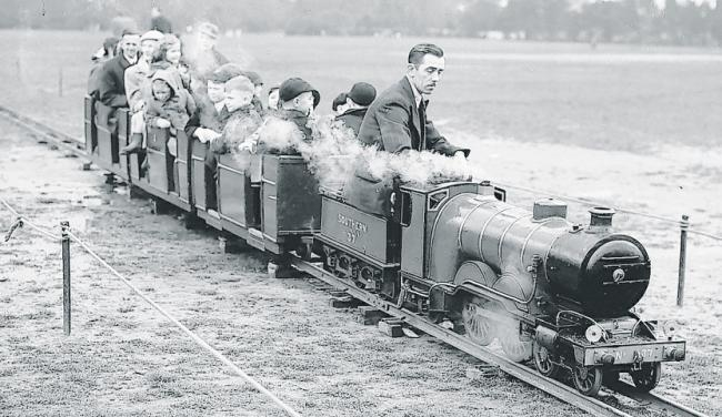 Miniature train on Southampton Common during Easter Weekend in 1953.