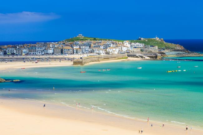 View overlooking Porthminster Beach St Ives Cornwall England UK.