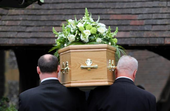 Undated file photo of a funeral taking place. Glasgow has topped the list of places with the highest mortality rate in the UK, new data has revealed..